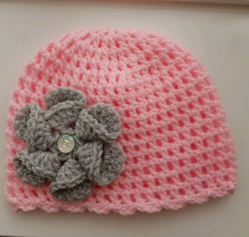 Baby Girl Pink and Grey Crochet Hat with a lovely large flower 3/6 mths