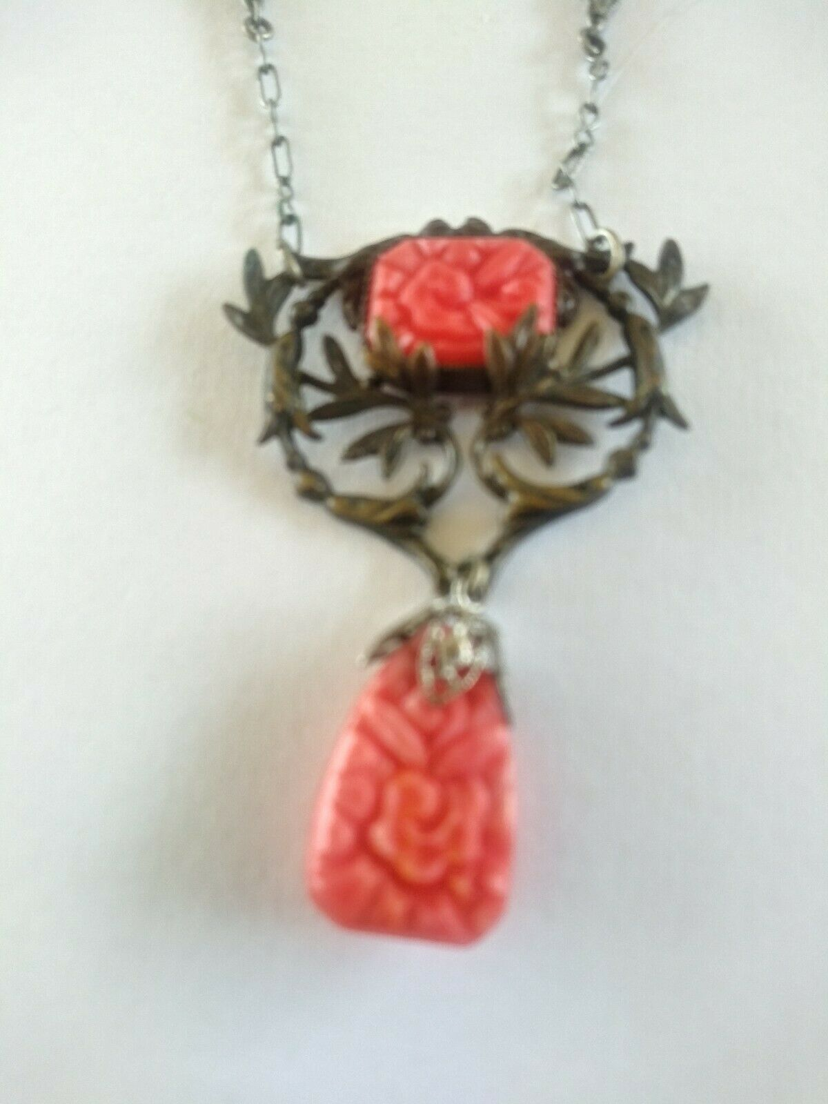 Amethyst Carved Flower /& Red Italian Coral 14k  Sterling pendent B