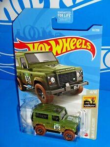 2021 Hot Wheels #32 Green land Rover Defender 90 Baja Blazers
