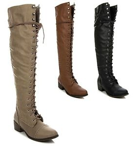 New Women's Over The Knee Thigh High Lace Up Military Combat ...