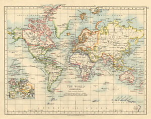 World Map With Currents.British Empire World Mercator Currents Steamship Routes Johnston