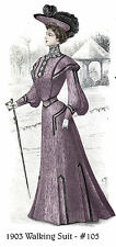 1903 Edwardian Walking Suit with bishop sleeves pattern - sized for you #105