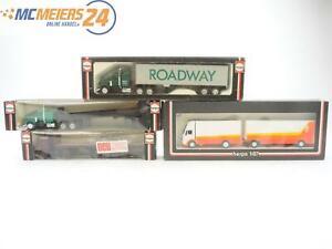 E11R130s-Herpa-H0-808276-850272-4x-Modellauto-LKW-Sattelzug-Rungenpritsche-1-87