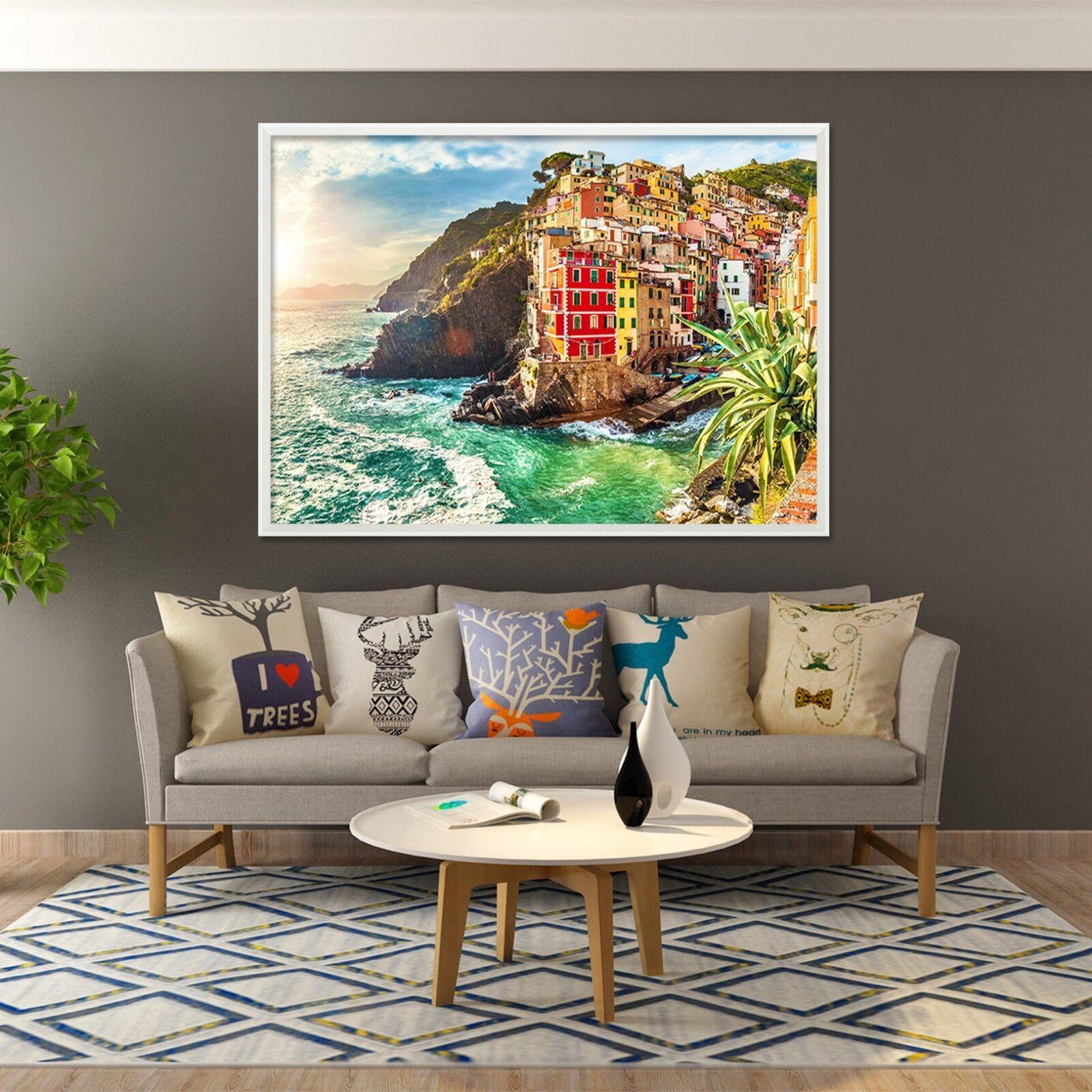 3D Cinque Terre Mar 2 Póster Enmarcado Decoración del Hogar Pintura de Impresión Arte Wallpaper