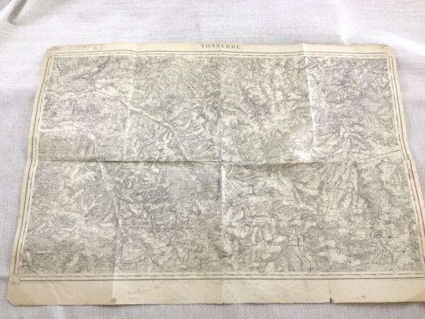 1897 Antik Französisch Landkarte Tonnerre Yonne Department 19th Century Original Ein BrüLlender Handel