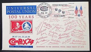 Universal-Postal-Union-Centenary-US-Cover-Compex-Stamp-Flag-10c-USA-Brief-Y-137