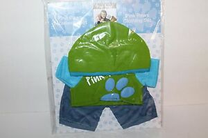 Pink Paws Clothing Set for Teddy Bear, Green/Turquoise Shirt & Hat, New
