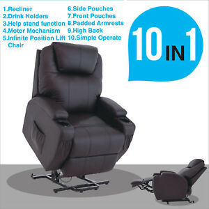 Brown Real Leather Lift Chair Recliner Armchair Wall Hugger Power ...