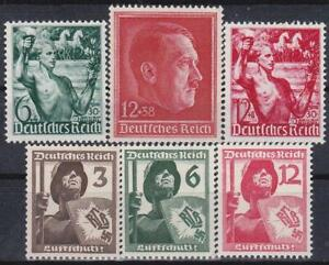 3rd-Reich-Nazi-Germany-6-Rare-WWII-Stamps-MNH