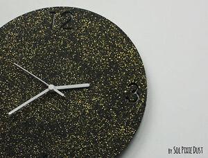 Shimmer black granite gold glitter concrete wall clock modern