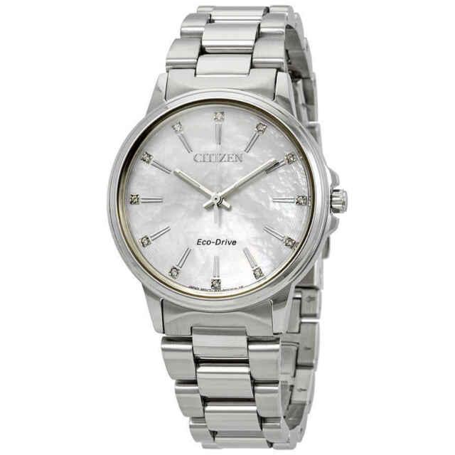 Citizen Chandler Eco-Drive Diamond White MOP Dial Ladies Watch FE7030-57D