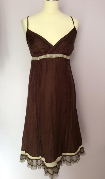 d2ad8d4dd2c1 Whistles Marronee Seta Dress Dimensione 8 Strappy npnixr3160-Vestiti ...
