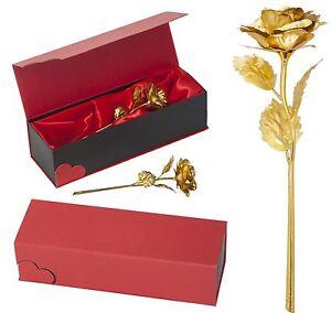 Goldene Vergoldete 24K Gold Rose Valentinstag Geburtstag Hochzeitstag Geschenk