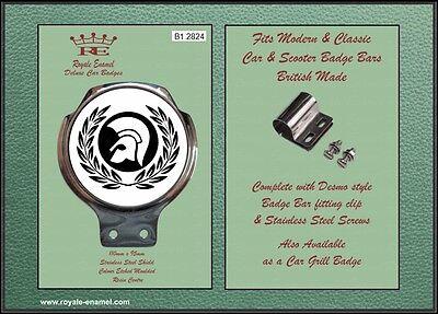 B1.2824 TROJAN LAUREL 2 TONE SKA Royale Car Scooter Bar Badge Fittings