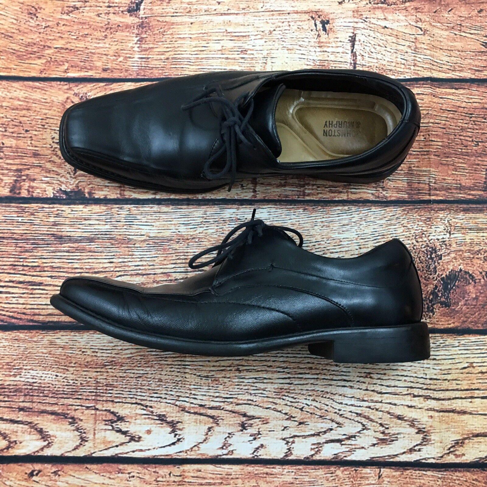 Johnston Leather & Murphy Men's 10M Tilden Black Leather Johnston Bike Toe Oxford Shoes 84259e