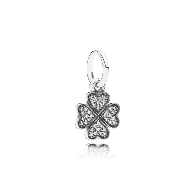 Authentic Pandora 925 Silver Charm Symbol Of Lucky In Love Clover