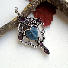 Howlith & Amethystquarz, blau, lila, Maske Gesicht, Anhänger, Silber plattiert