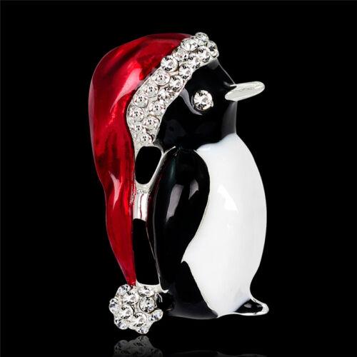 Diamantes de imitación de Navidad Lindo Navidad Pingüino Broche Pin Fiesta Regalo De Navidad