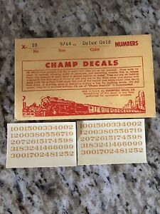 """Champ Decals HO Scale Number Set X-12 Dulux Gold 7//64"""" New AAA-1"""