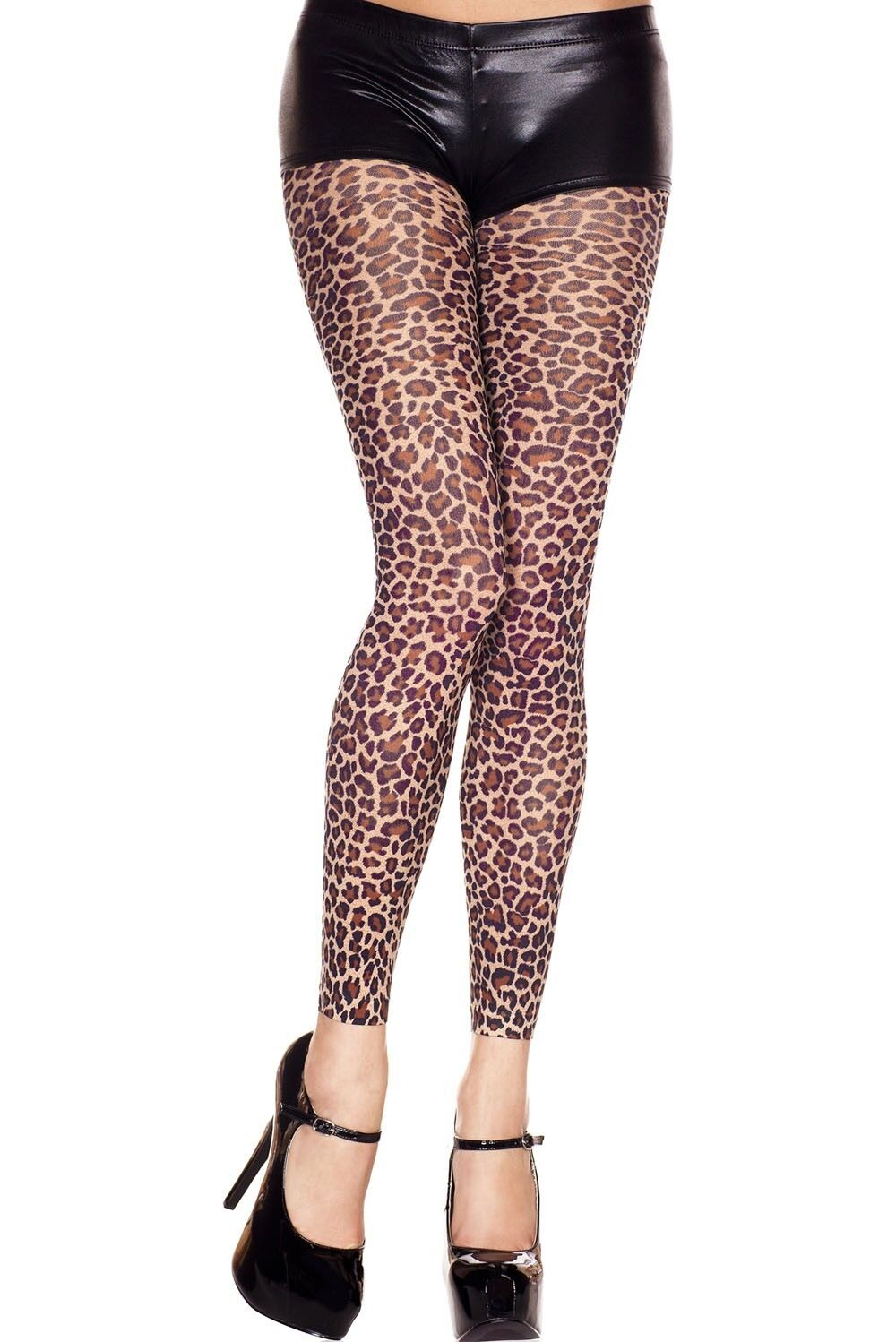 Leopard Animal Print Smooth Touch Footless Tights Sexy -2025
