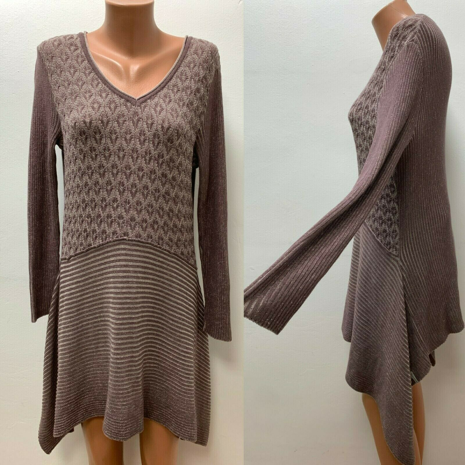 DEERBERG Gr.L Kleid Strickkleid Asymmetrisch Braun