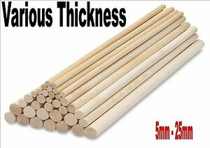 Wooden balsa dowels stick crafts models all sizes 5mm for Wooden dowels for crafts