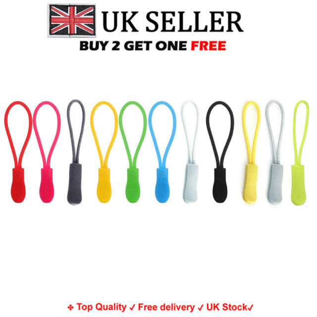 4 x Zipper Pull Cord*Zip Puller*Zip Fastener FREE P/&P 5 styles 4 colours