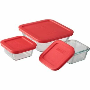 Pyrex-square-glass-storage-6PC-set-food-container-paypal-crzyj
