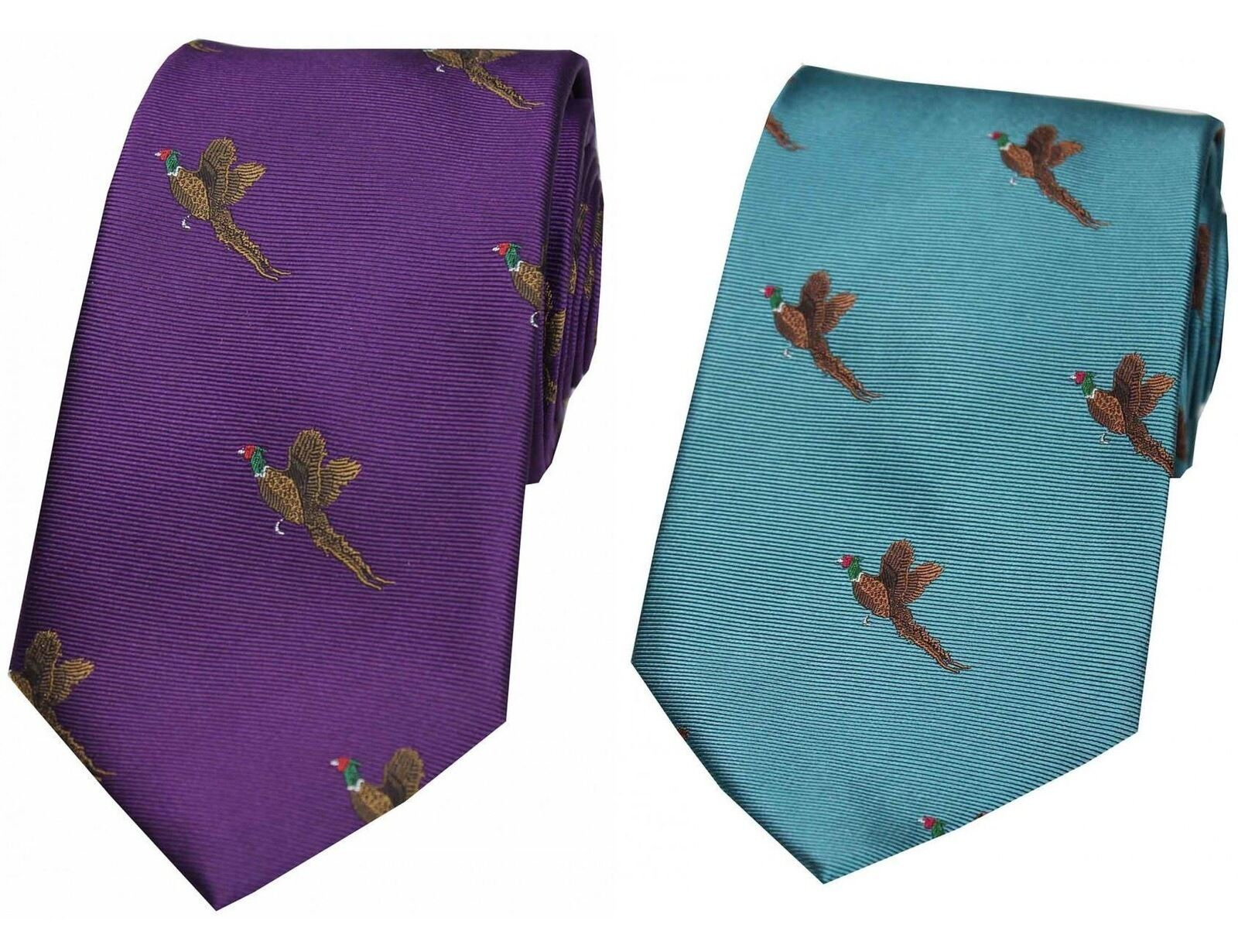Country Silk Tie - Woven Pheasant Take Off