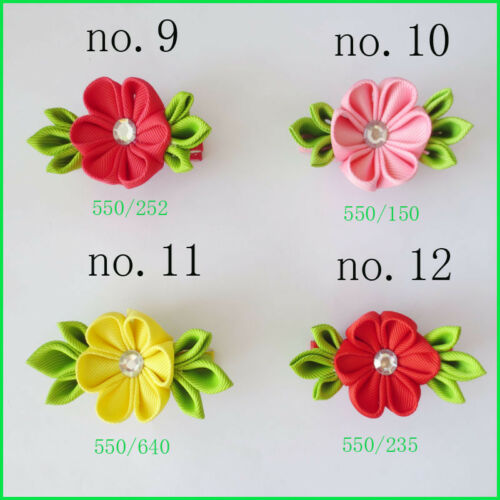 "12 BLESSING Good Girl 3/"" Plum Blossom Clip Grosgrain Ribbon Accessories"