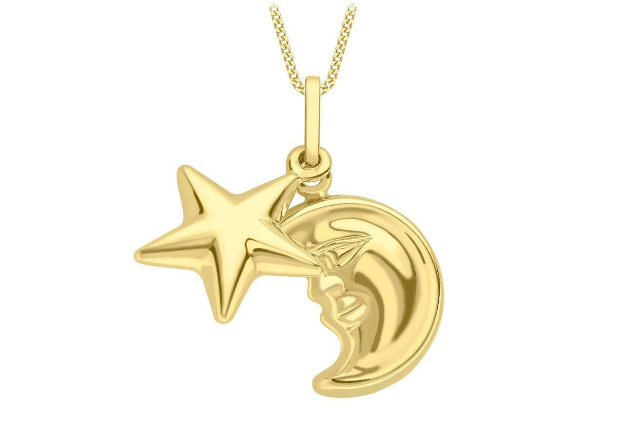 9ct Yellow gold Moon & Star Shapes Celestial Sky Night Charm Pendant Gift Boxed
