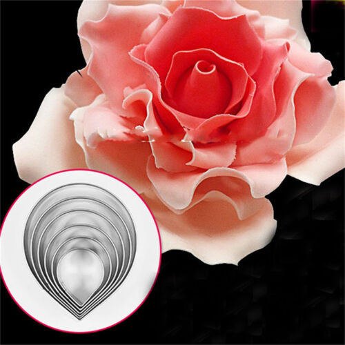 6PCS//Set Rose Petal Mold for Cake Decor Fondant Sugarcraft Cutters Tools Mould V
