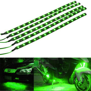 5-X-Green-15-LED-30CM-Car-Grill-Flexible-Waterproof-Light-Strip-SMD-12V-Sales