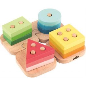 KLEINKINDER HOLZ STECKPUZZLE Holzspielzeug Sortierspielzeug Holzpuzzle # 91840 Holzspielzeug