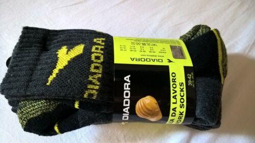 Diadora 3 paia di Calzini da lavoro work socks tg corti 39-42 nero grigio