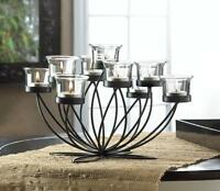Modern Black Iron Candelabra Candle Holder Flower Floral Large Table Centerpiece
