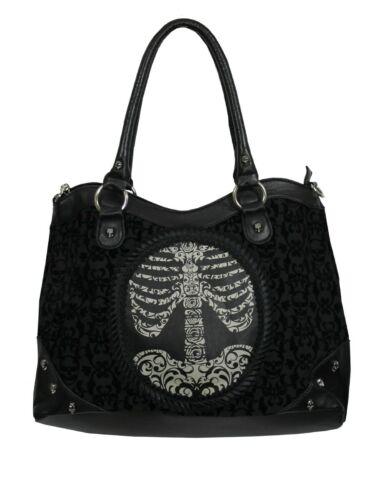 Banned Handbag Flocking Rib Cage Black 44 x 26 x 14cm