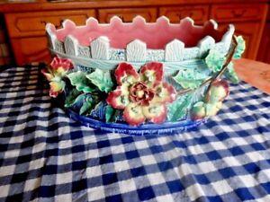 superbe barbotine fleurs xixeme xxe* art nouveau signe *ancre de marine AaWtyPua-09154754-746476338