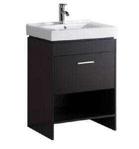 24 Inch Freestanding Modern Espresso Bathroom Vanity With Ceramic Sink Top 709257085937 Ebay
