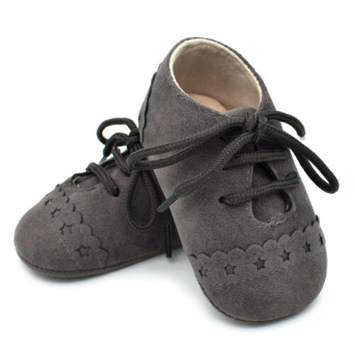 Baby Newborn Girl Boy Prewalker Sneakers Anti-slip Soft Crib Sole Lace up Shoes