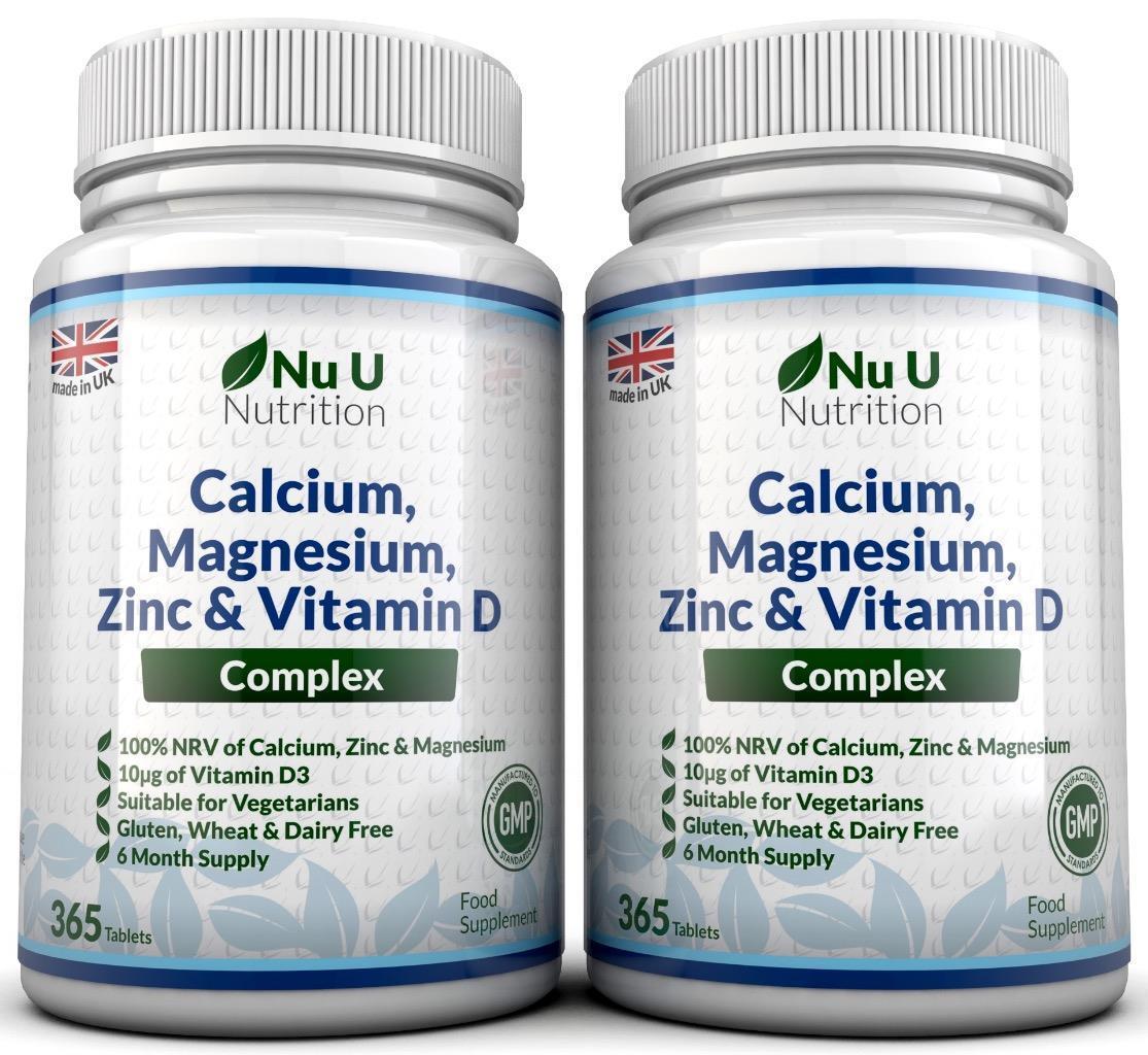 Details About Calcium Magnesium Zinc Vitamin D Supplement 365 X 2 Bottles Vegetarian Tablets