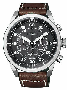 Citizen-Eco-Drive-Solar-Powered-Leather-Strap-Chrono-Mens-Steel-Watch-CA4210-16E