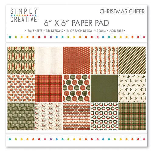 "Simply creative ~ papier 6x6/"" Pad ~ 30 x 120gsm feuilles ~ Noël Cheer"