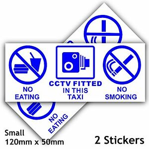 Details about 2 TAXI Signs-No Eating,Drinking,CCTV Fitted Stickers-Minicab  Cab Notice Ext 50mm