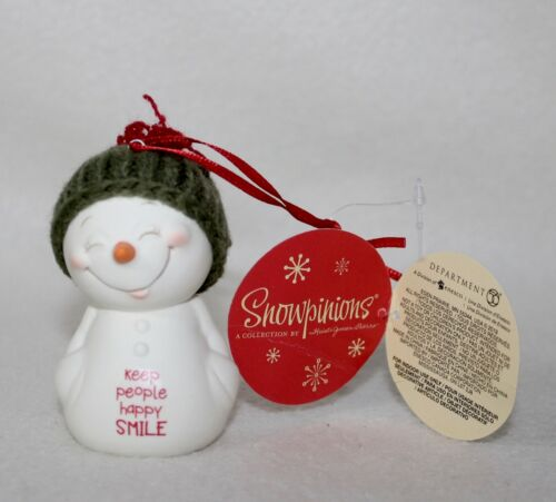 """SMILE"""" Ornament Brand New Dept 56 Cute Snowpinions """"KEEP PEOPLE HAPPY"""