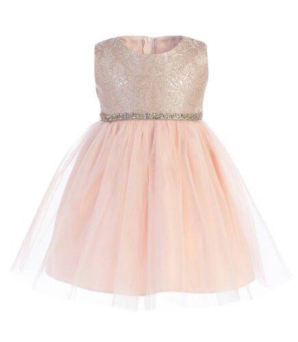 Ornate Imperial Brocade Tulle Baby Girls Dress Christmas Wedding Easter Party