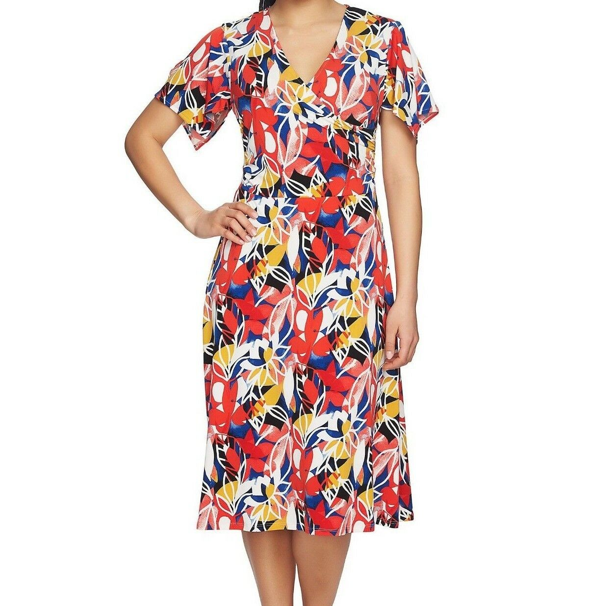 Chaus Chaus Chaus Casual Floral Ruched Wrap Dress with Short Sleeve, size Large, Red Multi b1949c