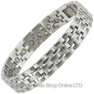 hommes-Bracelet-Magnetique-Acier-Inoxydable-Neuf-Chrome