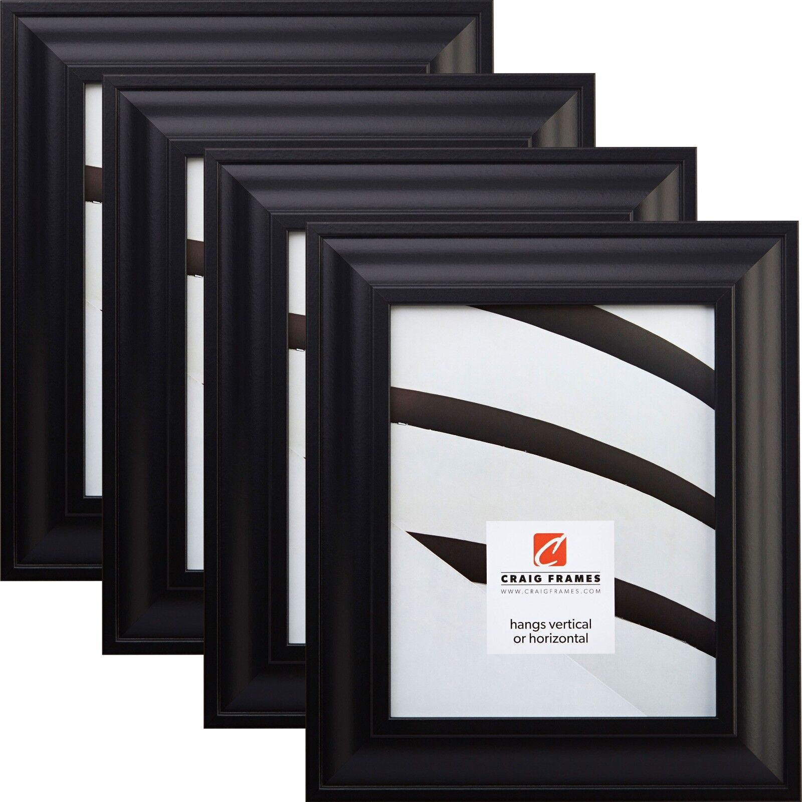 3 by 9-Inch Black Satin Picture Frame Craig Frames Contemporary Wide