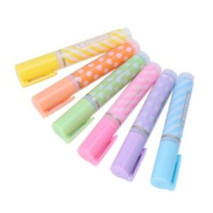 Mini Dots 6pcs Striped Highlighter Fluorescent Pen Marker Painting Drawing Pens